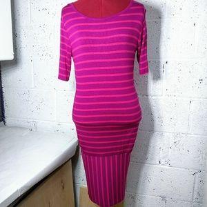 LuLaRoe Small 4-6 Julia Striped Purple Pink Dress